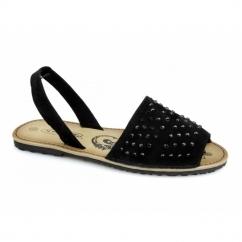 JOSIE Ladies Faux Suede Diamante Slingback Sandals Black