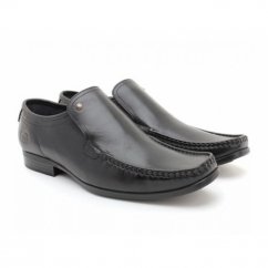 CARNOUSTIE Mens Leather Moccasin Loafers Waxy Black