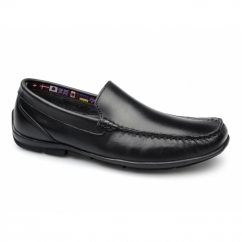 AUBREY Mens Leather Moccasin Driving Loafers Black