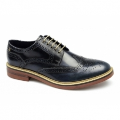 WOBURN Mens Leather Brogue Shoes Hi Shine Blue