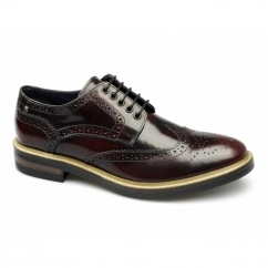 WOBURN Mens Leather Brogue Shoes Hi Shine Oxblood