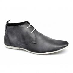 SAMUEL Mens 2 Eye Leather Desert Boots Black