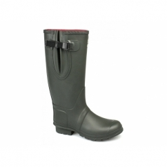 NEOPRENE Gusset Unisex Buckle Wellington Boots Olive Green