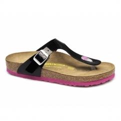 GIZEH Ladies Toe Post Sandals Patent Black/Pink