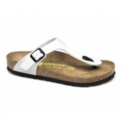 GIZEH Ladies Toe Post Sandals Patent White
