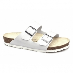 ARIZONA Unisex Slip On Buckle Sandals White