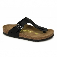 GIZEH Ladies Toe Post Sandals Patent Black