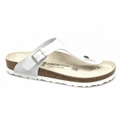 GIZEH Ladies Toe Post Buckle Sandals White