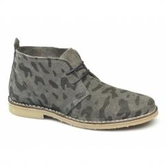 GOBI LEOPARD PREMIUM Mens Suede Desert Boots Pewter