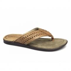 COE Mens Toe Post Padded Flip Flops Choc Brown