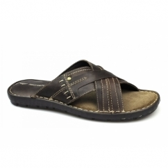 LEW Mens Leather Padded Mule Sandals Brown