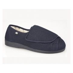CASSIDY Unisex Extra Wide EEE Fit Velcro Slippers Navy