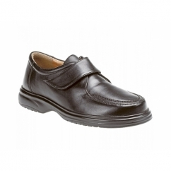 JADEN Mens Leather Wide E Fit Velcro Shoes Black