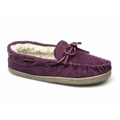 TAW Ladies Suede Leather Moccasin Boat Slippers Violet