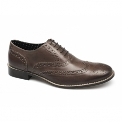 GATSBY Mens Leather Brogue Shoes Brown