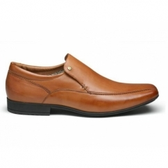 BELMONT Mens Leather Tramline Loafers Tan