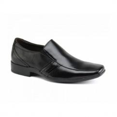 CRADDOCK Mens Leather Chisel Slip-On Shoes Black