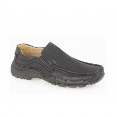JAI Mens Faux Leather Slip-On Moccasin Loafers Black
