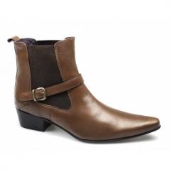 FERNANDO Mens Cuban Heel Pointed Winklepicker Buckle Boots Tan
