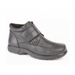 TITO Mens Warm Lined Velcro Boots Black