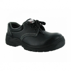 Unisex Leather Lace Up Metal Safety Shoes Black