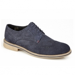 GODFREY Mens Suede Lace Up Brogue Shoes Navy