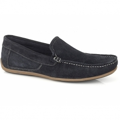 WILSON Mens Suede Moccasin Driving Loafers Navy