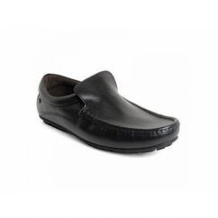 HERITAGE Mens Crazy Leather Slip On Loafers Black