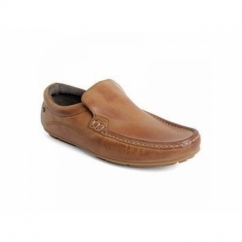HERITAGE Mens Crazy Leather Slip On Loafers Tan