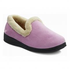 REPOSE Ladies Microsuede Extra Wide Fit Slippers Pink