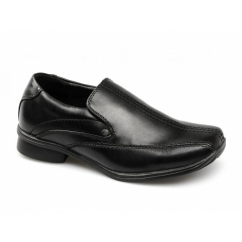 WREXHAM*A Boys School Slip On Loafers Black