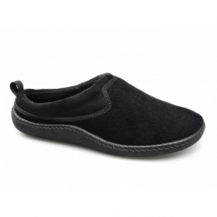 FREDDIE Mens Warm Slip On Mule Slippers Black