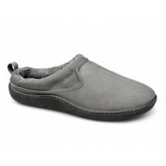 FREDDIE Mens Warm Slip On Mule Slippers Grey