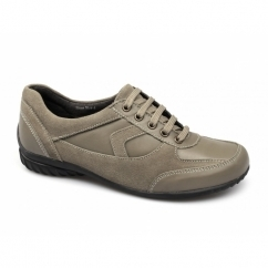 ROSE Ladies Leather Suede Lace-Up Padded Shoes Taupe