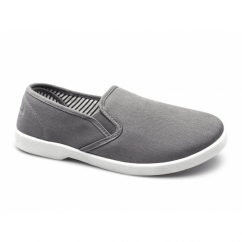 YACHT Mens Canvas Wide Fit Slip On Deck Shoes Grey