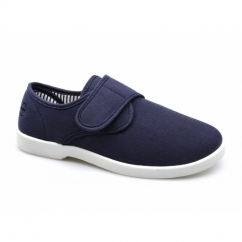 SHIP Mens Canvas Wide Touch Fasten Deck Shoes Navy