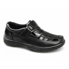SIDNEY Mens Faux Leather Velcro Closed Shoe Sandals Black