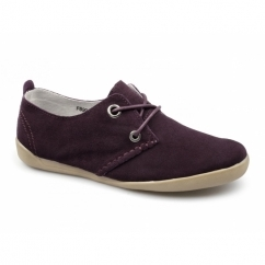 LORENA Ladies Suede Lace-Up Padded Shoes Burgundy