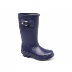BUCKINGHAM Boys Junior Buckle Wellington Boots Navy