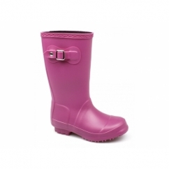 BUCKINGHAM Girls Junior Buckle Wellington Boots Fuchsia
