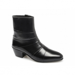 ENRIQUE Mens Cuban Heel Plain Leather Boots Black