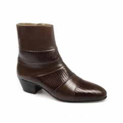 ENRIQUE Mens Cuban Heel Reptile Leather Boots Tan