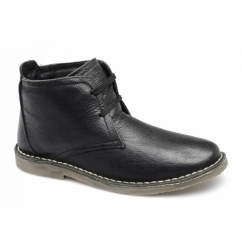 RORY Mens Leather Wide Padded Desert Boots Black