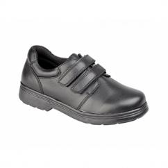 DANO Boys Leather Twin Velcro School Shoes Black