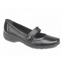 MALINDA Ladies Button Mary Jane Flat Shoes Black