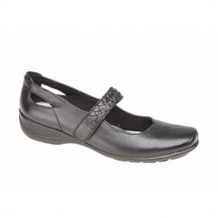 SASKIA Ladies Leather Velcro Mary Jane Flat Shoes Black