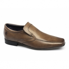 ENGLISH Mens Leather Slip On Tramline Shoes Tan