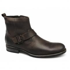 EVANS Mens Leather Buckle Zip Biker Boots Brown