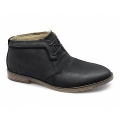 DEVON HAMLIN Mens Leather Chukka Boots Black