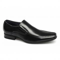 BRETT Mens Leather Lined Tramline Chisel Toe Shoes Black